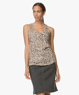Majestic Panther Print Tank Top - Beige