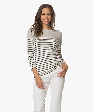 Majestic Striped Pullover in Cotton - Milk/Marine