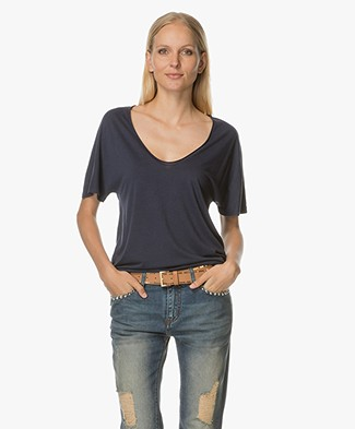 Filippa K Roll Edge Scoop Neck Tee - Twilight