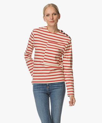 Joseph Breton Striped Sweater - Cream/Red