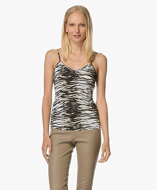 Majestic Tiger Print Top - Beige