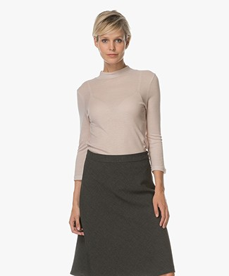 Filippa K 3/4 Sleeve Mock Neck Pullover - Pebble