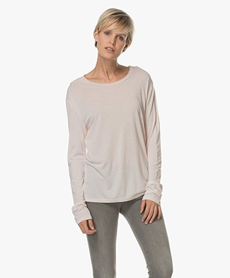 Filippa K Roll Edge Long Sleeve Top - Light Blush