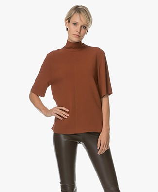 Joseph Aubree Top with Turtleneck - Rusty Brown