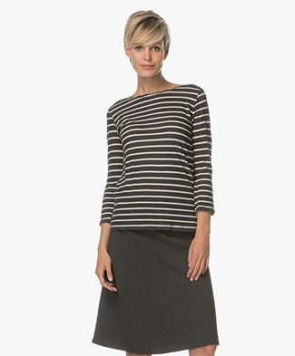 Majestic Striped Top in Cotton and Cashmere - Anthracite/Milk