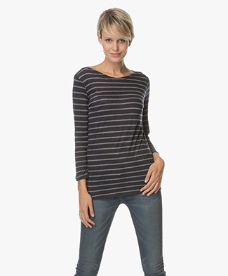 Majestic Striped Top in Cotton and Cashmere - Marine/Gris Chine