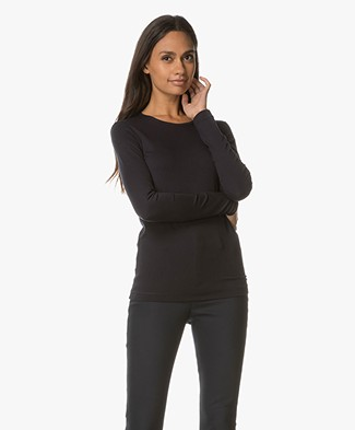 Joseph Round Neck Stretch Longsleeve T-shirt - Navy