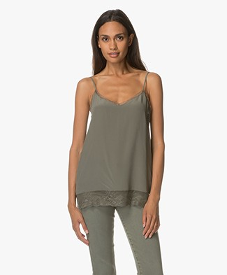 Repeat Silk and Lace Camisole - Khaki