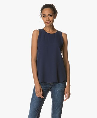 Theory Zabetha Silk Top - Saphire Blue