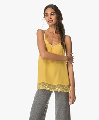 Repeat Silk and Lace Camisole - Mustard
