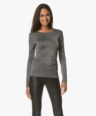 Drykorn Arina Lurex Long Sleeve - Silver