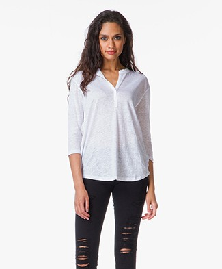 Majestic Cropped Sleeve Linen Top