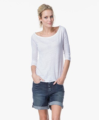 Majestic Buttoned Back Linen T-shirt