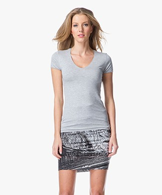 Majestic V-neck T-shirt- Gris Chine Clair
