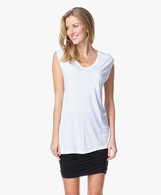 T by Alexander Wang Classic Muscle Tee with Pocket - Wit