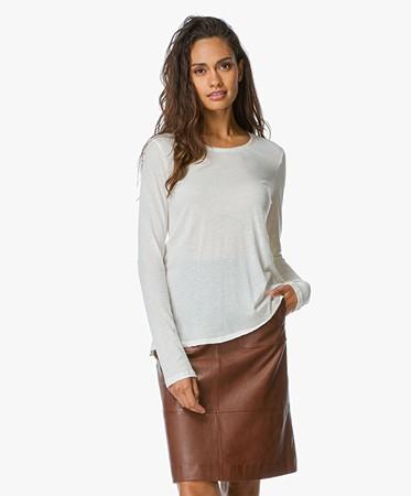 Majestic Cotton Cashmere Long Sleeve Shirt Blanc D Hiver