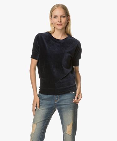 Majestic Fluwelen Shirt Met Cashmere Donkerblauw H17