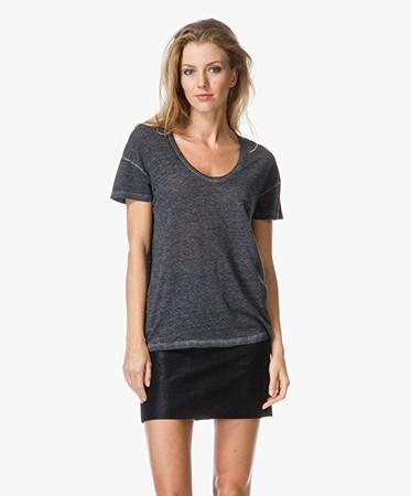 drykorn almina vintage v neck t shirt dark grey 505108 almina 3. Black Bedroom Furniture Sets. Home Design Ideas
