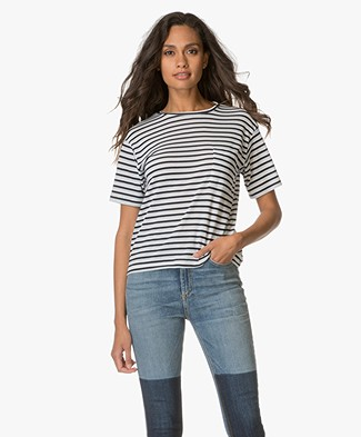 Anine Bing Striped Tee - Blue