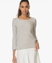 Belluna Carine Striped Pullover - Grey/Ecru