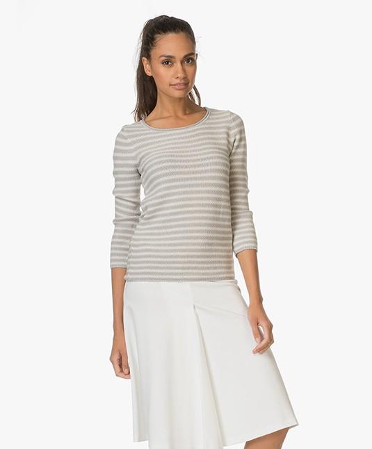 Belluna Carine Striped Pullover - Grey/Ecru