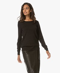 Repeat Cotton Blend Boat Neck Pullover - Black