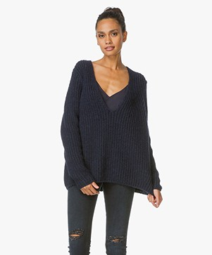 Closed Alpaca Sweater with Deep V-Neck