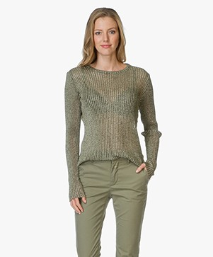 IRO Herina Pullover with Lurex - Olive/Gold
