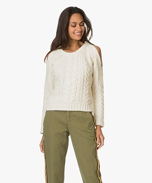 Anine Bing Cut Out Shoulder Knit Trui - Crème