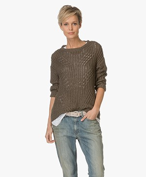 Indi & Cold Open-worked Sweater - Khaki