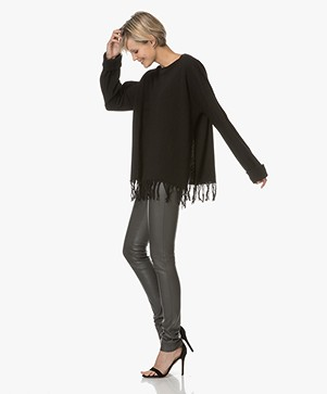 Fine Edge Fringe Sweater in Merino wool - Black
