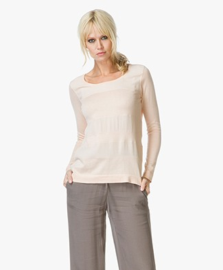 Marie Sixtine Bradley Cotton Knit with Viscose Detailing - Flamingo