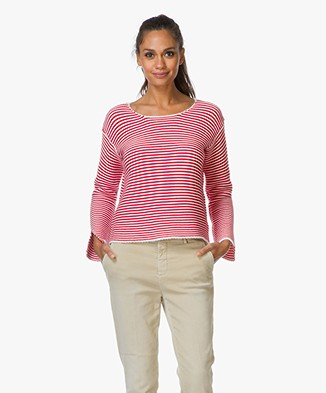 Frame Le Cropped Striped Sweater - Red/White