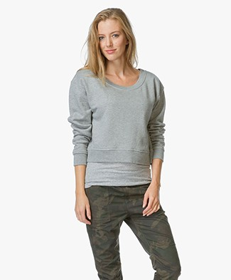 T by Alexander Wang French Terry Cropped Trui - Heather Grey