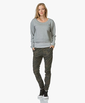 T by Alexander Wang French Terry Cropped Sweater - Heather Grey