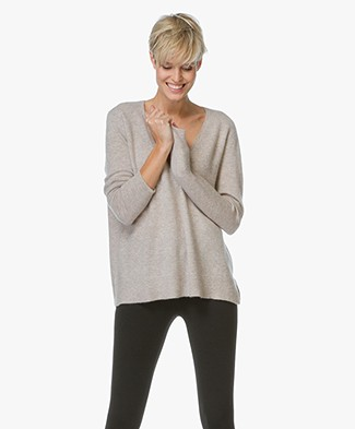 Repeat Cashmere V-hals Pullover - Sand