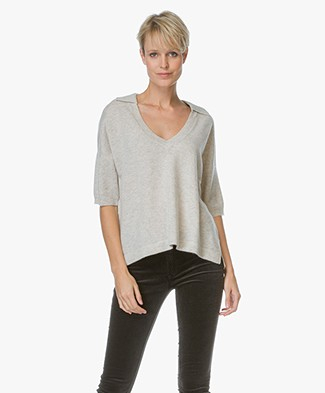 Repeat Cashmere V-neck Sweater with Polo Neck- Marble