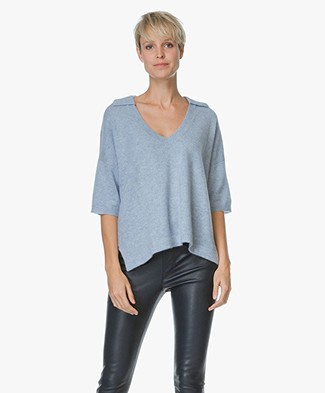 Repeat Cashmere V-neck Sweater with Polo Neck - Sky