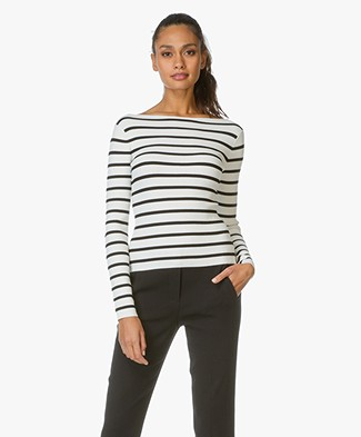 Theory Knit Stripe Sweater Blasina - Eggshell/Black