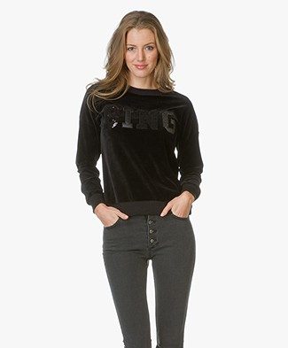 Anine Bing Velvet Statement Sweater - Black