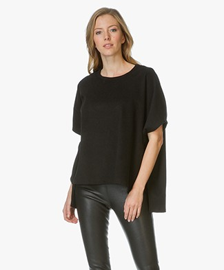 James Perse Fleece Poncho Trui - Zwart
