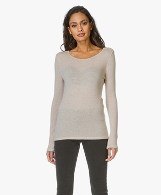 Majestic Cashmere Pullover with Buttons - Sable Chiné