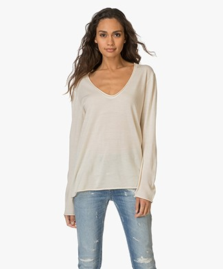 T by Alexander Wang Merino Jersey V-neck Pullover - Champagne