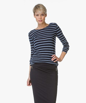 Majestic Striped Cashmere Sweater - Blue