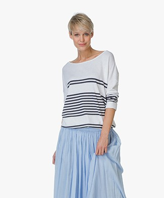Repeat Cotton Blend Pullover with Stripes - Salt/Dark Blue