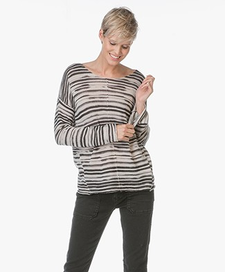 Repeat Cashmere Sweater with Stripe Design - Light Beige