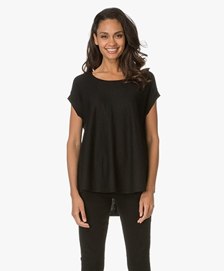 Repeat A-line Pullover with Short Sleeves - Black