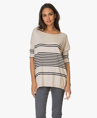 Repeat Cotton Blend Pullover with Stripes - Hay/Navy