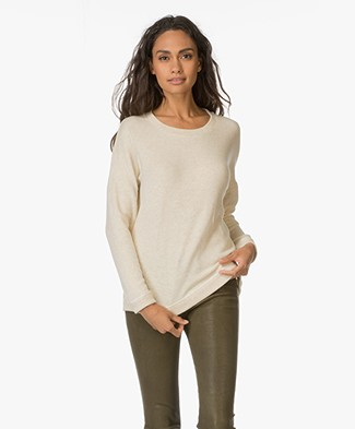 Denham Fleece Sweater Memory - Natural Melange