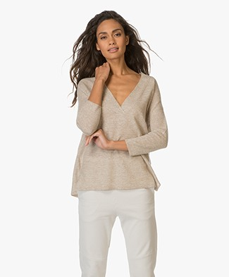 Repeat Cashmere and Linen V-neck Pullover - Wood